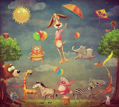 Dessin animé, Illustration, animaux, forêt