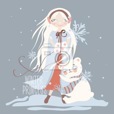 Image Dessin Animé Illustration Enfantine De Princesse Dhiver Belle