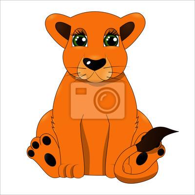 Dessin Animé Mignon Bébé Lion Peintures Murales Tableaux Zoo