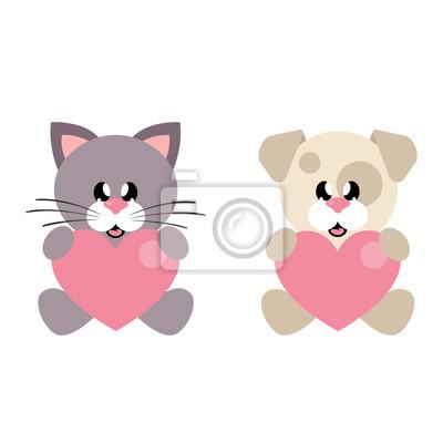 Coeur Dessin dessin animé mignon chien et chat avec coeur peintures murales