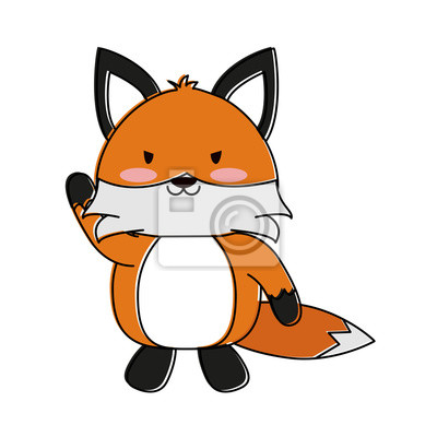 Dessin Anime Mignon Fox Icone Vector Illustration Design Graphique Peintures Murales Tableaux Couleur Colore Dessiner Myloview Fr