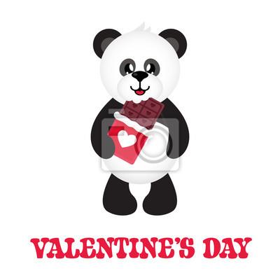 Image Dessin Animé Mignon Panda Avec Du Chocolat Et Du Texte