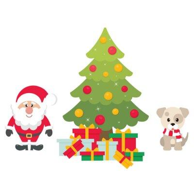 Dessin Animé Mignon Père Noël Avec Sapin De Noël Et Cadeaux Et