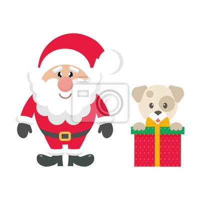 Image Dessin Animé Mignon Père Noël Et Cadeau De Chien De Noël