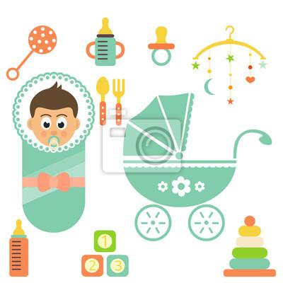 Dessin Bébé Garçon dessin animé peu bébé garçon ensemble et buggy peintures murales
