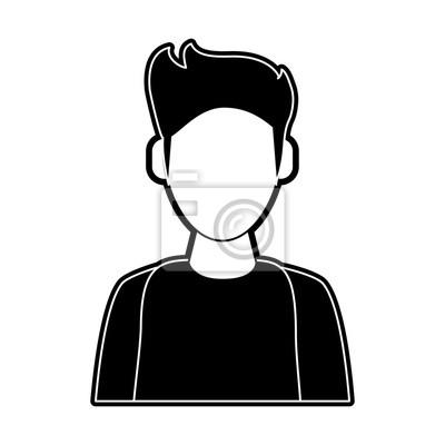 Illustration Visage dessin animé sans visage homme icône illustration vectorielle
