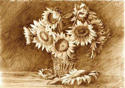 Image Dessin au crayon de bouquet de tournesols dans un vase agrandi
