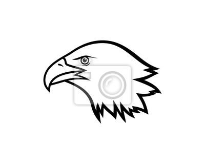 Dessin Au Trait Simple Oiseau Tete Illustration Vector Logo Animal Peintures Murales Tableaux Faucon Aigle Predateur Myloview Fr