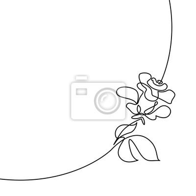 Dessin Continu Dune Ligne Beau Logo Rose Illustration Vectorielle