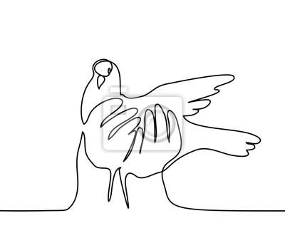 Dessin Continu Dune Ligne Logo Pigeon Dans Les Mains Illustration