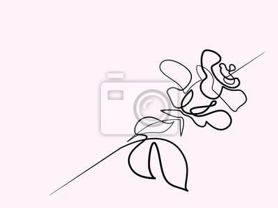 Dessin Dune Ligne Continu Beau Logo De Fleur Rose Illustration