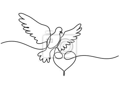 Dessin Dune Ligne Continu Pigeon Volant Avec Coeur Logo De