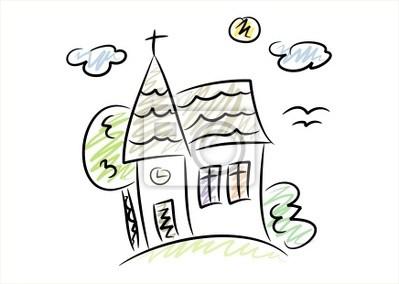 Dessin De Couleur Dune Petite Eglise Dans La Campagne Peintures Murales Tableaux Christian Eglise Religieuse Myloview Fr