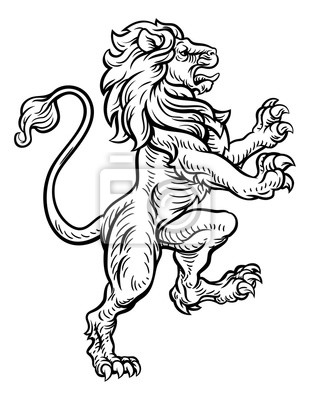 Dessin De Style Heraldique De Lion Peintures Murales Tableaux Blazonry Rampante Heraut Myloview Fr