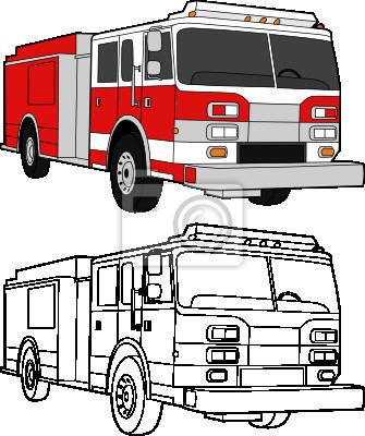 Dessin De Vecteur Dun Camion De Pompier Couleur Et Des Lignes