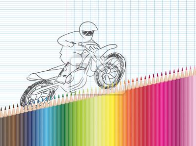 Image Dessin Et Crayons De Couleur Moto Cross