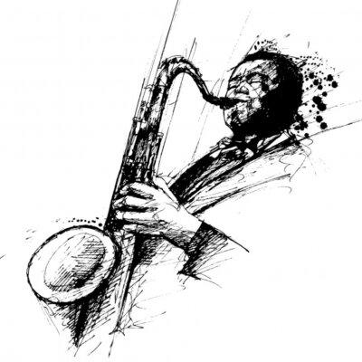 Dessin Saxophone dessin freehanding dun saxophoniste de jazz peintures murales