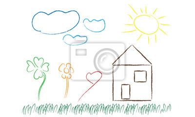 Dessin Maison Pre Jardin Peintures Murales Tableaux Crayon De