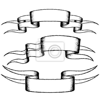 Dessin Ruban dessin ruban dans le rétro ensemble de vecteur de style peintures
