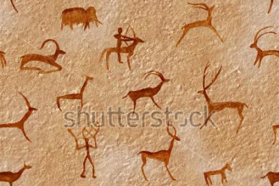 Image Dessin sans couture dans une grotte peinte par un homme ancien sur un mur, un rocher. Peint ocre orange rouge. Chasse à un animal. Chaman, aborigène, neandertal, œufs, bélier, bateau, mammouth, cerf.