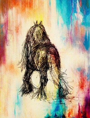 Image Dessinez le cheval de crayon sur le vieux papier, le papier vintage et la vieille structure avec des taches de couleur.