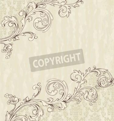 Image Détail carte vintage avec du papier peint de damas beige sur fond grunge
