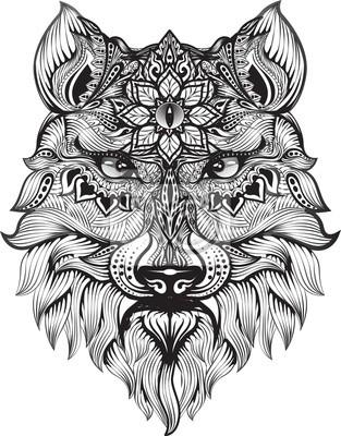 Détail Zentangle Loup Pour Colorier La Page Tatouage Effet
