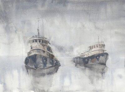 Image Deux bateaux dans la mer. Temps brumeux. Pluie. Mer. Poisson navires.