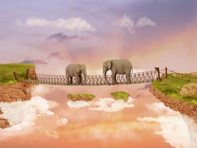 Image Deux éléphants sur un pont dans le ciel