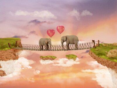 Image Deux éléphants sur un pont dans le ciel avec des ballons. Illustration
