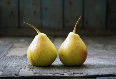 Image Deux, jaune, poire, jumeaux, bois, plancher ...