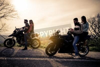 Image Deux, motos, conduire, dans, les, nature - amis, conduire, courses, motos, leur, copines - groupe, de, cyclistes, arrêt, dans, une, panoramique,