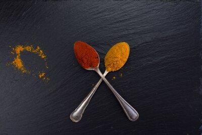 Image Deux, vendange, cuillères, épices, curry, paprika, noir, fond
