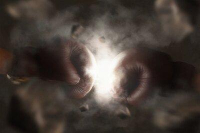 Image Deux, vieux, brun, boxe, gants, coup, ensemble