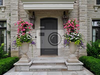 Devant Porte Pierre Maison Grand Fleur Pots Peintures Murales