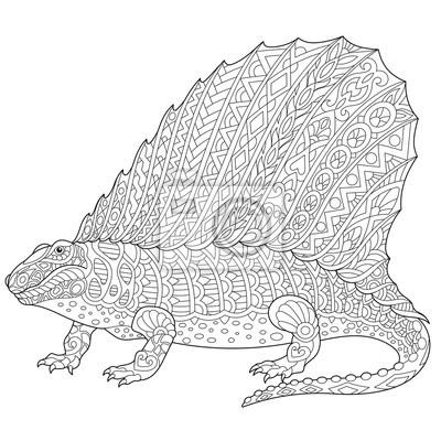Coloriage Dinosaure Fossiles.Dinosaure Dimetrodon Stylise Reptile Fossile De La Periode