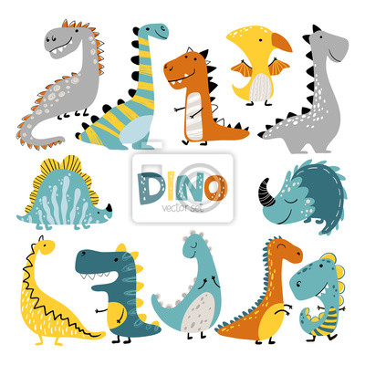 Image Dinosaurs vector set in cartoon scandinavian style. Colorful cute baby illustration is ideal for a children s room.
