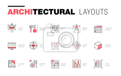 Image Dispositions architecturales dans la composition de la ligne polygonale à la mode. Petites icônes des bâtiments. Dessin de projets professionnels. Superbe style de géométrie de contour avec un pictogr