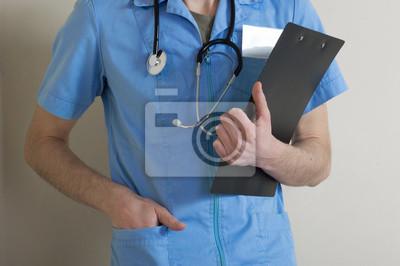 Docteur, infirmière, dossier, main, stéthoscope