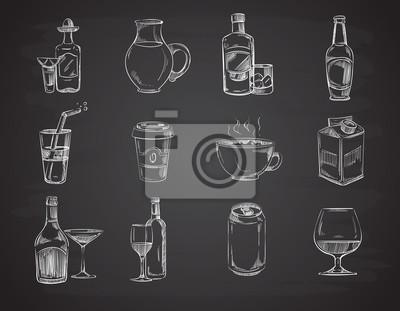Doodle boissons, vin, bière, bouteilles. main, dessiné, boissons, Images myloview