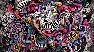 Image Doodles Music illustration. Creative musical background