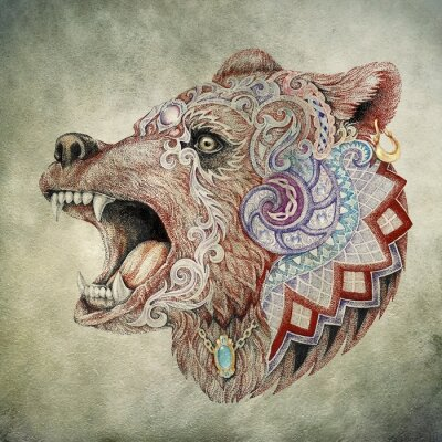 Image Dotwork, tatouage, tête furieux ours