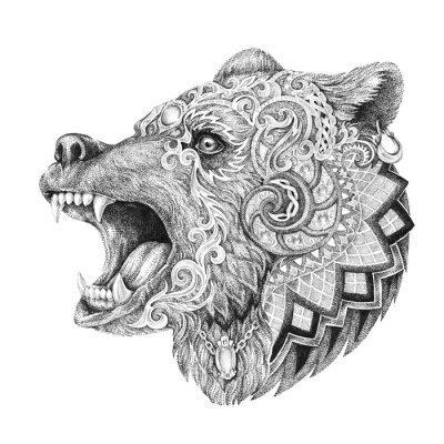Image Dotwork, tattoo, head enraged bear