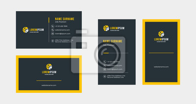 Image Double-sided creative business card template. Portrait and landscape orientation. Horizontal and vertical layout. Vector illustration