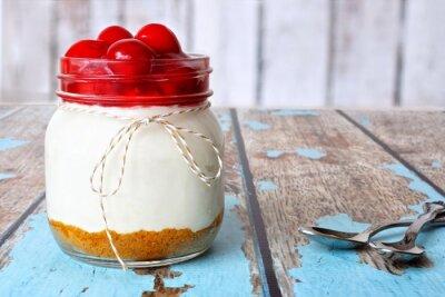 Image Doux, cerise, cheesecake, mason, pot, rustique, bois, fond