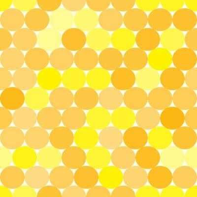 Image Doux vecteur seamless jaune et orange avec des cercles. Fond monochrome abstrait géométrique.