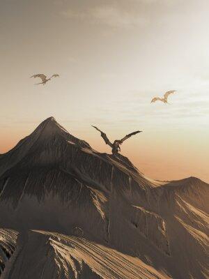 Image Dragon haute à Coucher de soleil, illustration fantastique