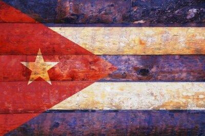 Image Drapeau de Cuba dans le vieux bois.