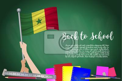 Drapeau De Vecteur Du Senegal Sur Fond De Tableau Noir Fond Peintures Murales Tableaux Conseil Mat De Pavillon Pole Myloview Fr