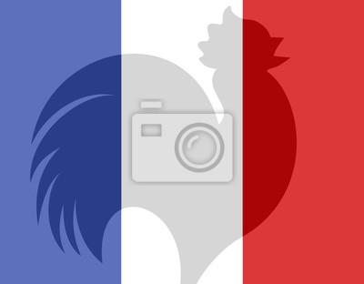 Drapeau France Bleu Blanc Rouge Coq Peintures Murales Tableaux L